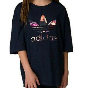Adidas Girls Navy J Rose T-shirt Rose Pattered Tre